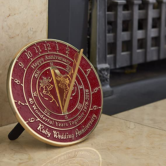 Amazon The Metal Foundry 40th Ruby Wedding Anniversary Sundial