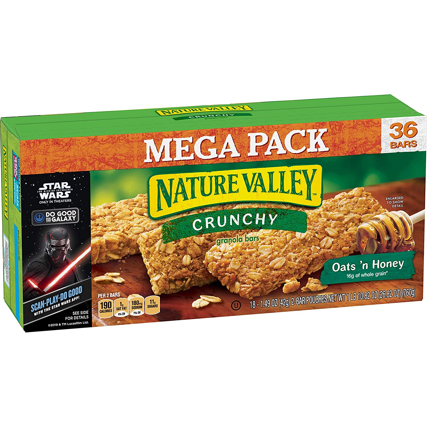Nature Valley Oats 'n Honey Crunchy Granola Bars Box, 36 Count
