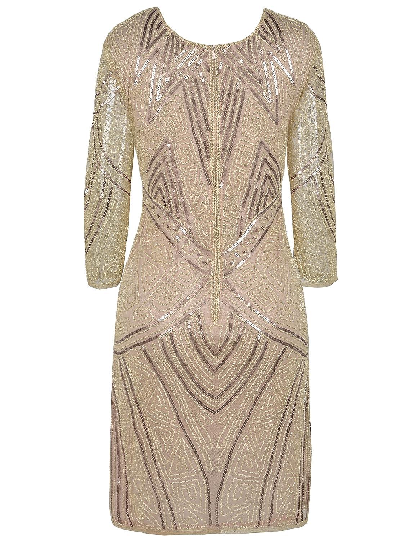 PrettyGuide Damen 1920er Flapper Kleid Perlen Deco Langarm Cocktail ...