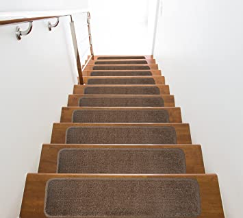Slip Skid Resistant Rubber Back Stair Tread Mats, Indoor, Garnet  Collection, 8 Inch