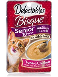 Delectables Bisque Senior 10 Years+ Lickable Wet Cat Treats - Tuna & Chicken - 12 Pack