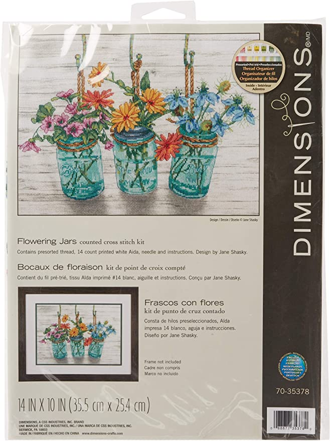 Dimensions Stamped Cross Stitch Floral Scroll Kit