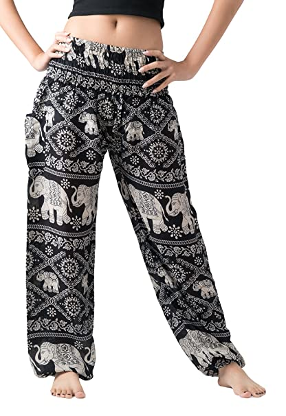 bc8138c6 Bangkokpants Women's Casual Pants Harem Bohemian Clothes Hippie Boho Yoga  Outfits Smocked Waist (Black,