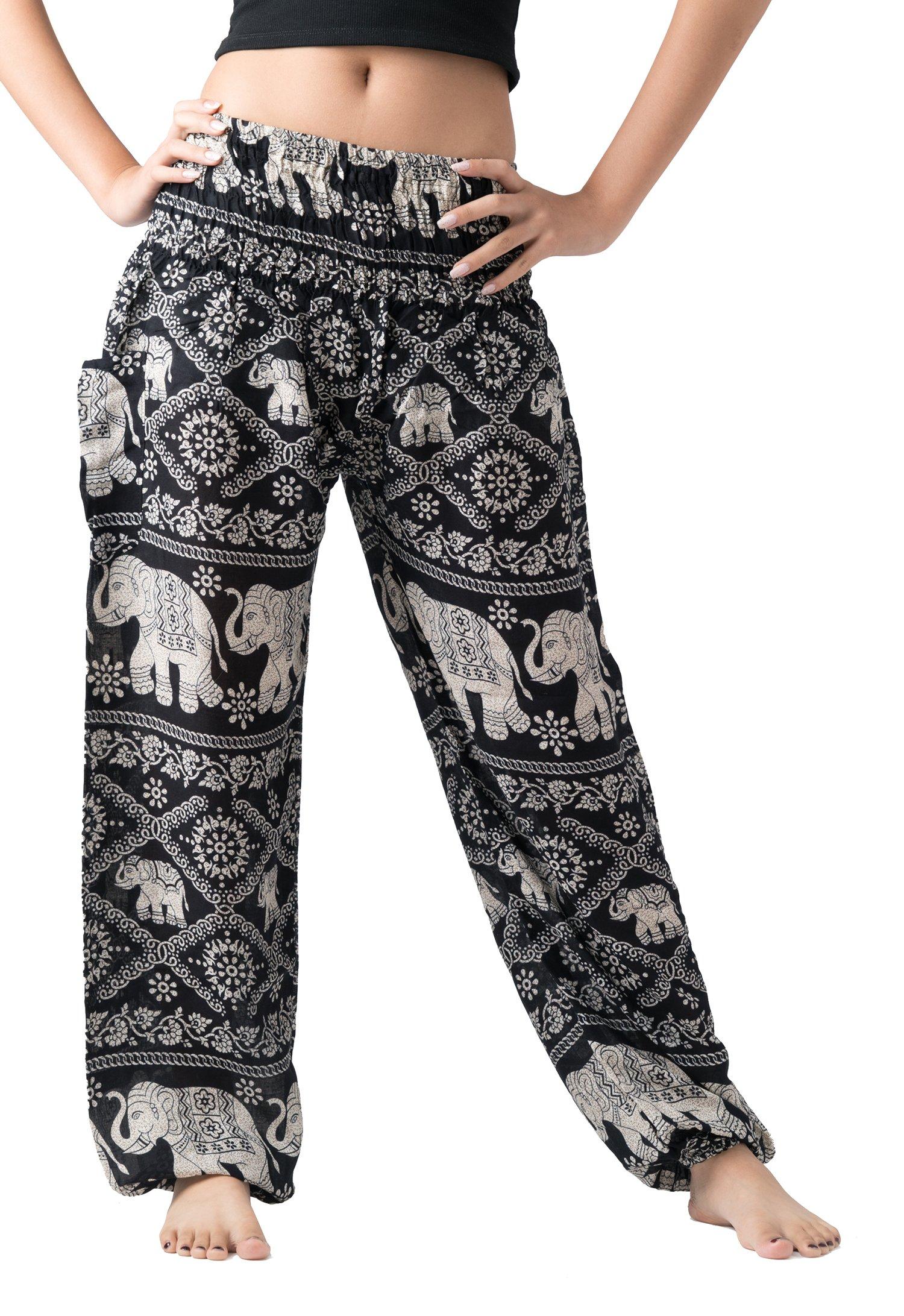Bangkokpants Women's Casual Pants Harem Bohemian Clothes Hippie Boho Yoga Outfits Smocked Waist (Black, One Size)