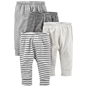 Simple Joys by Carter's Baby 4-Pack Pant, Gray Stripe, 0-3 Months