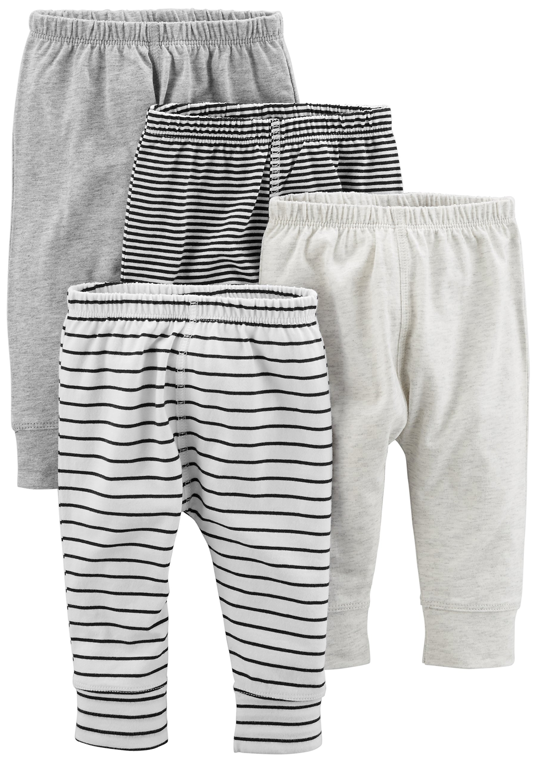 Simple Joys by Carter's Baby 4-Pack Pant, Gray/Gray Stripe, 0-3 Months