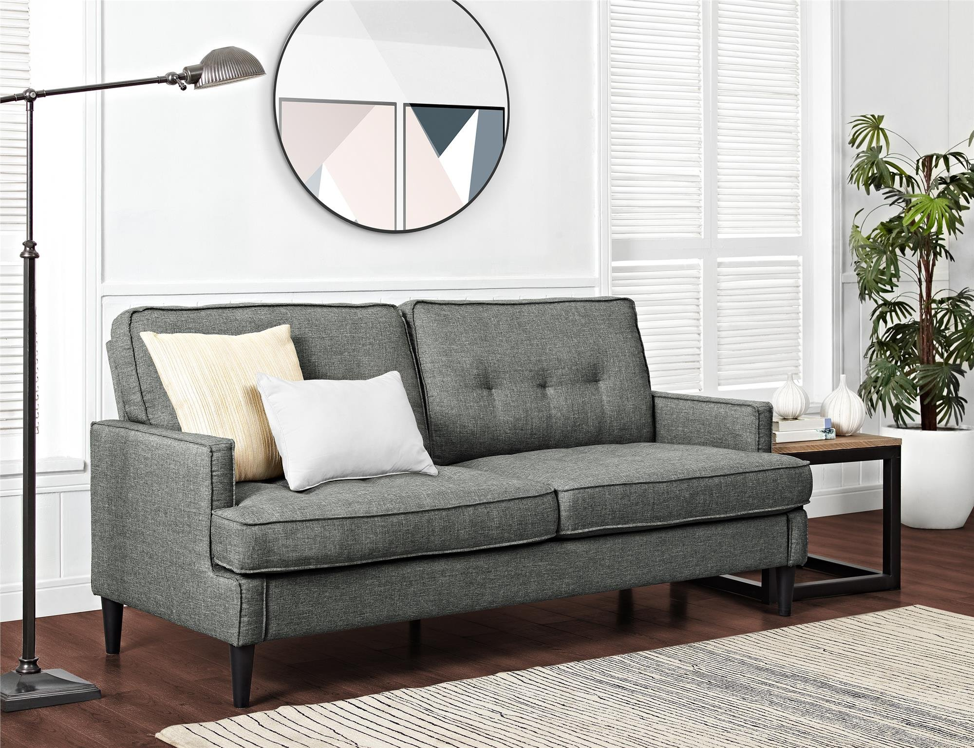 REALROOMS Dana Mid-Century Modern Sofa, Living Room Couch, Gray by REALROOMS