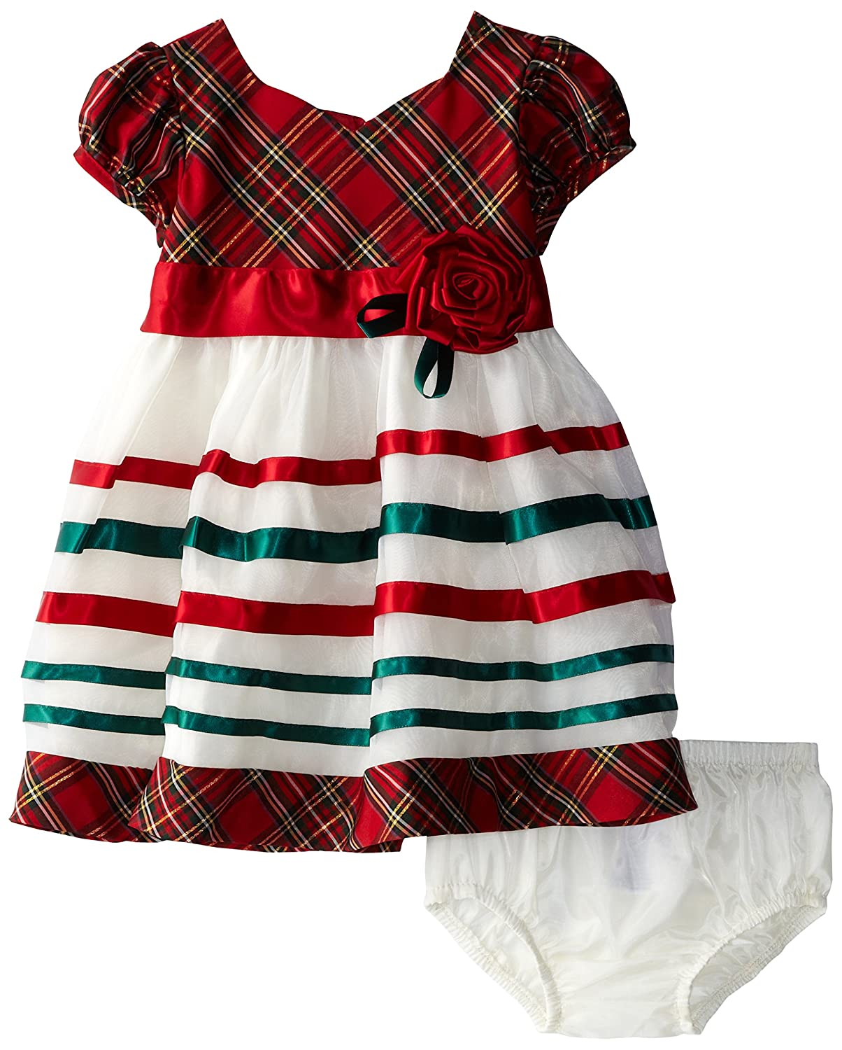amazoncom bonnie baby baby girls taffeta plaid organza dress red 24 months clothing - 12 Month Christmas Dress