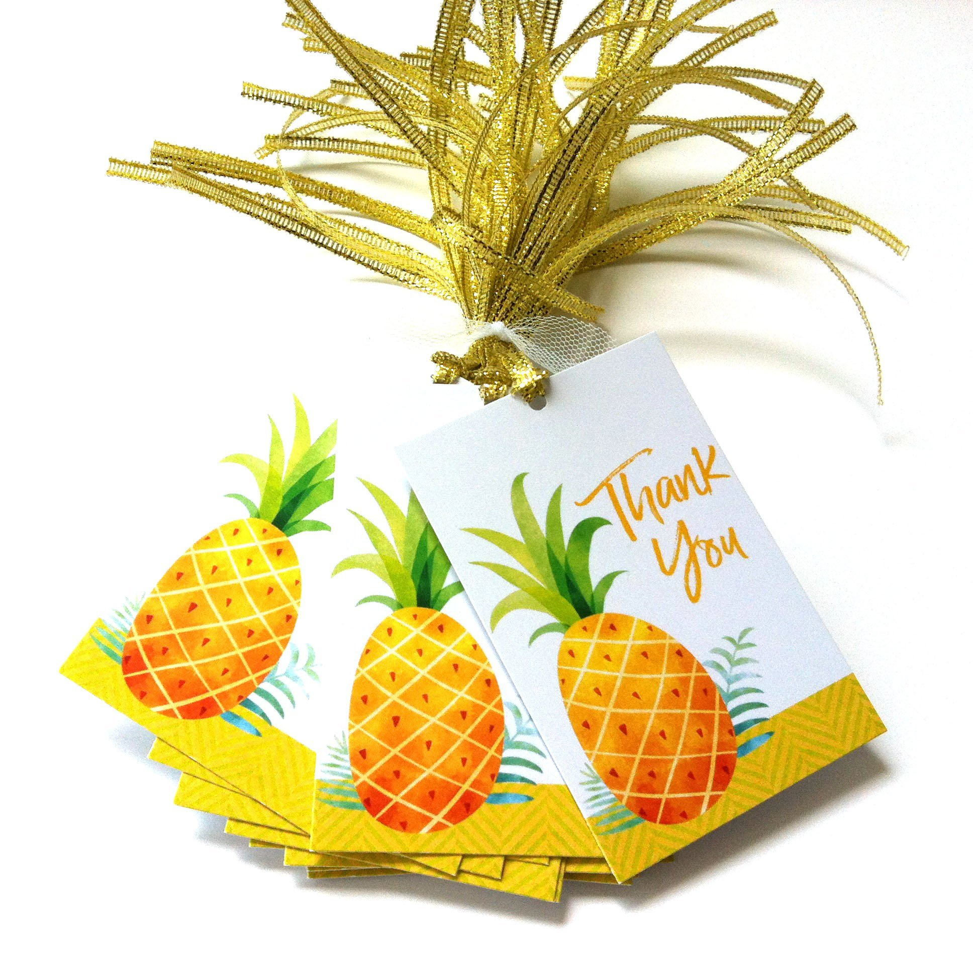 Sweet Pineapple Thank You Favor Tags - Summer Tropical Fruit Party Gift Tags - Set of 24