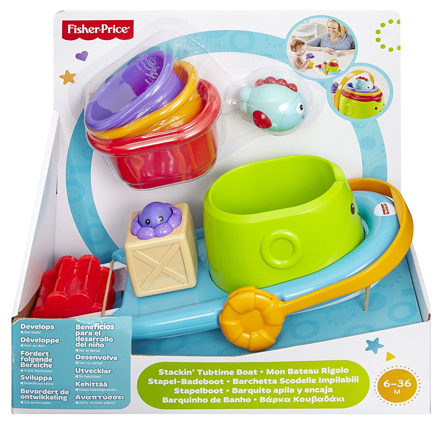 Amazon.com: Fisher-Price Stackin\' Tubtime Boat: Toys & Games