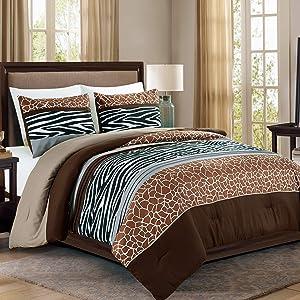 WPM 3 Piece Animal Safari Print Queen Comforter Set. Brown/Beige/White Color All Season Down Alternative Bedding Jungle Zebra Giraffe Cabin Lodge Decor- Pancho (Queen)