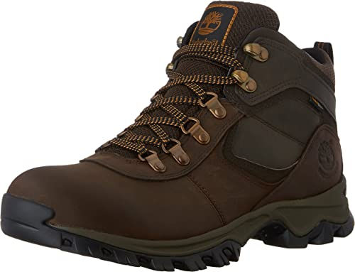 Timberland Men's Mt. Maddsen Hiker Boot, with waterproof leather, 100% Leather/TFabric material, rubber sole, lace-up closure and full-gusseted tongue, color brown.