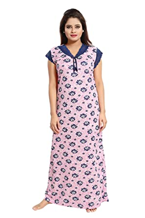 TUCUTE Women Girls Beautiful Floral Print with Navy Blue Lace Work Nighty Night  Gown f30b2fc94