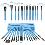 32 Piece Mini Professional Makeup Brushes Set , Start Makers Make up Brushes Complete Travel Set(Blue)