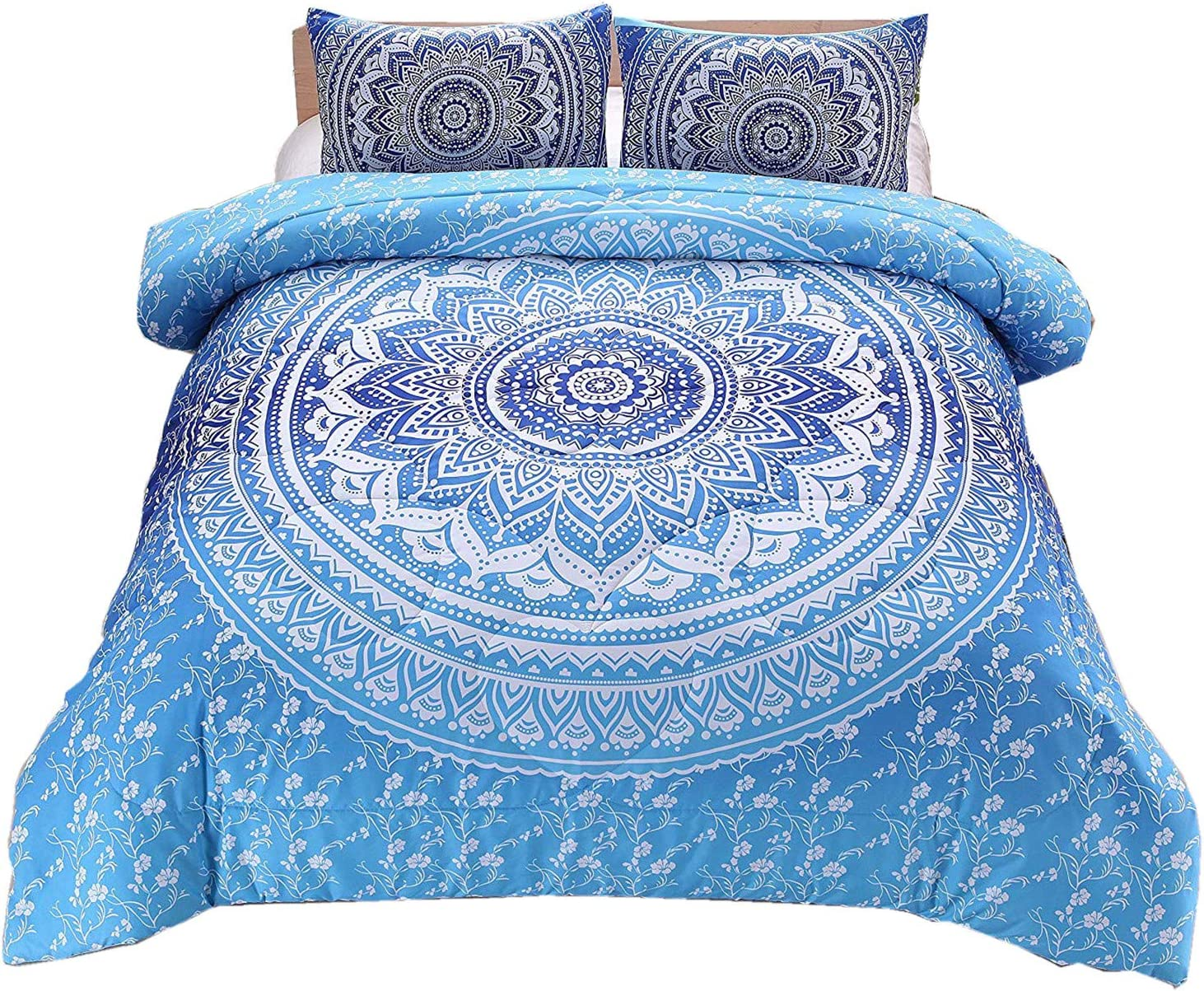 Meeting Story 3Pcs Mandala Bohemian Moonlight Bedding Bedspread Comforter Set (Blue, Queen)