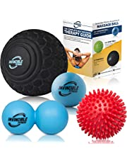 """Deep Tissue Massage Ball Set - Includes 5"""" Foam Roller Mobility Ball, Double Peanut Lacrosse Ball, Spiky Balls for Trigger Point Therapy, Myofascial Release, Foot Reflexology, Plantar Fasciitis"""