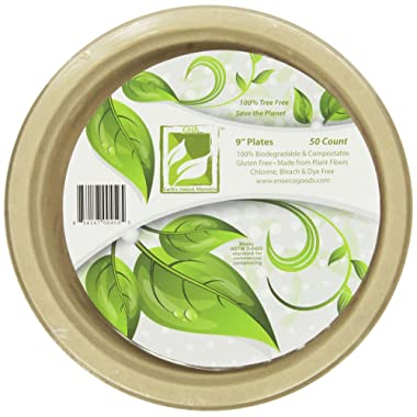 Earth's Natural Alternative Eco-Friendly, Natural Compostable Plant Fiber 9  Plate, Natural, 50 Count