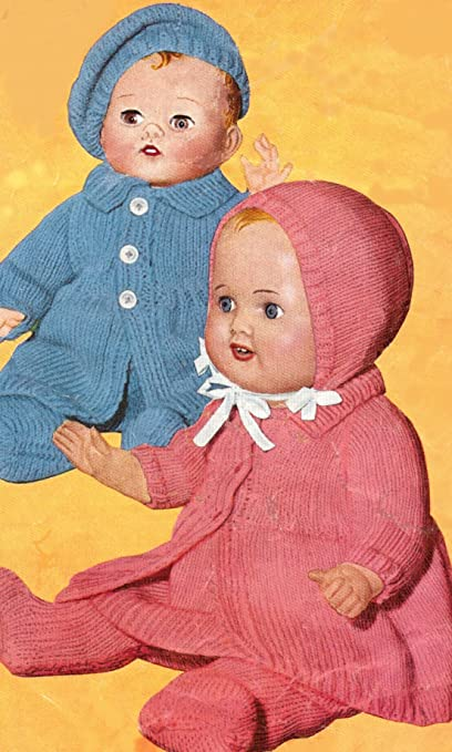 0bdeab3e15592 Vintage Knitting PATTERN to make - 12 14 16-inch Baby Doll Clothes Beret Set