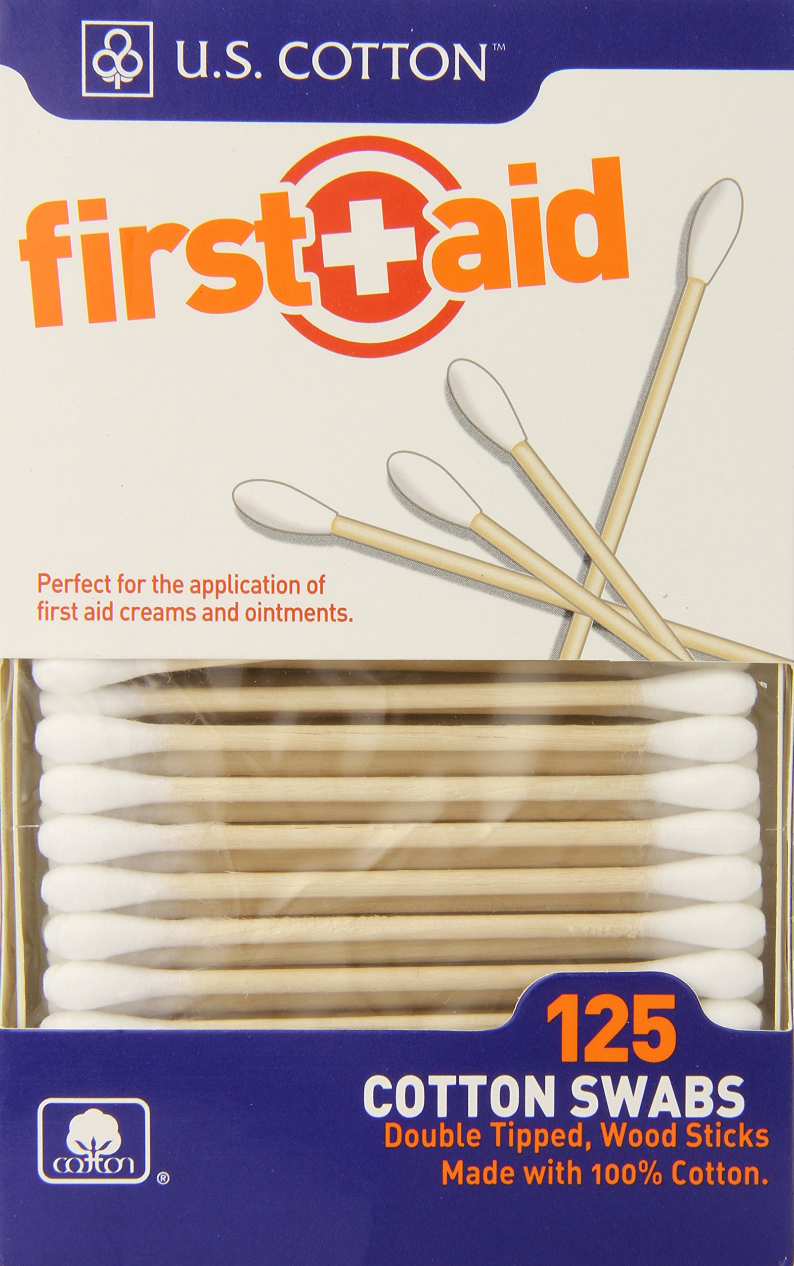 U.S. Cotton First Aid or Baby Sterile 100% Cotton Swabs, Wood Stick, 125 Count Boxes (Pack of 6 Boxes)