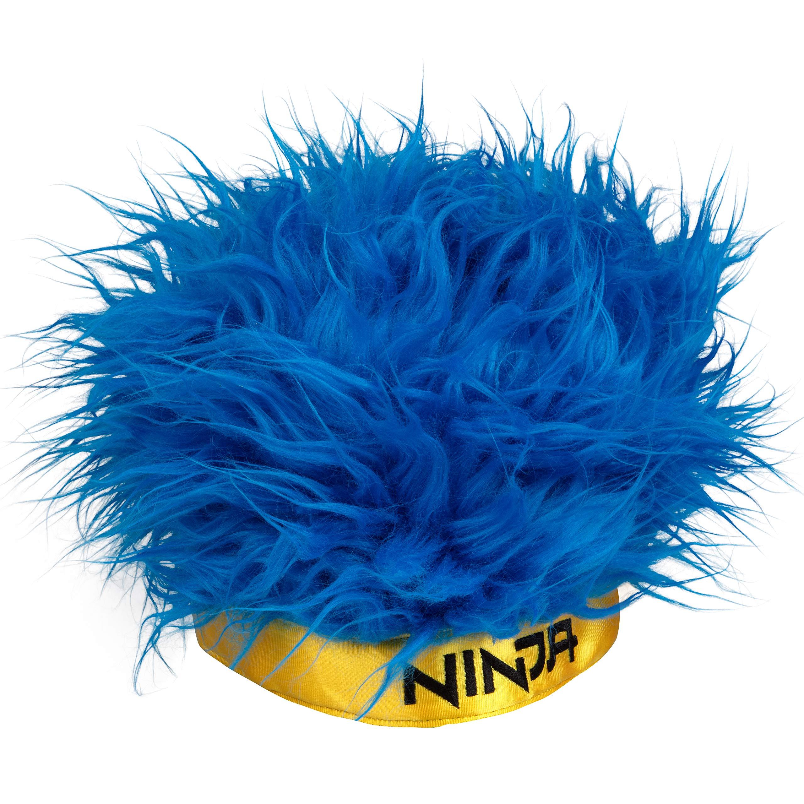 Ninja Streamer Headwear - Blue Hair Wig Hat with Yellow Ninja Headband - One Size Fits Most - 6+