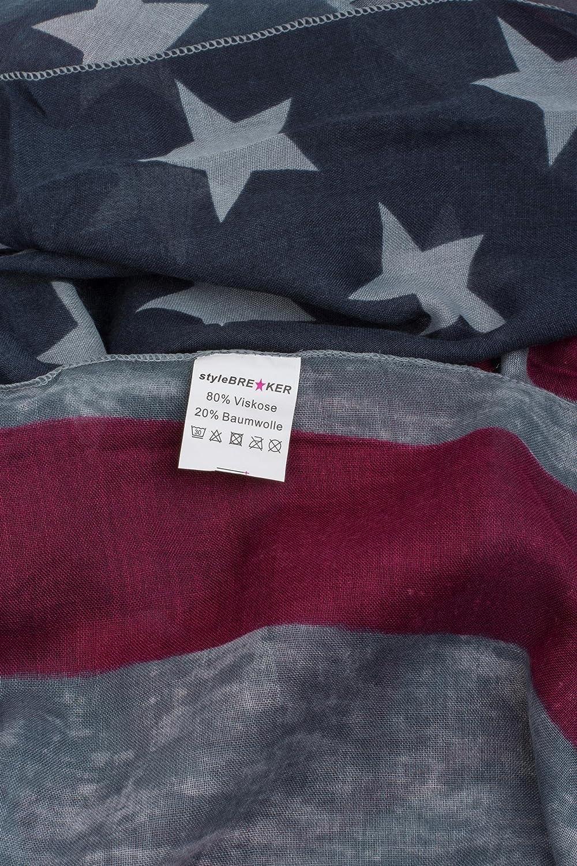 unisex 01016083 stelle e strisce styleBREAKER sciarpa scaldacollo con design vintage di bandiera americana