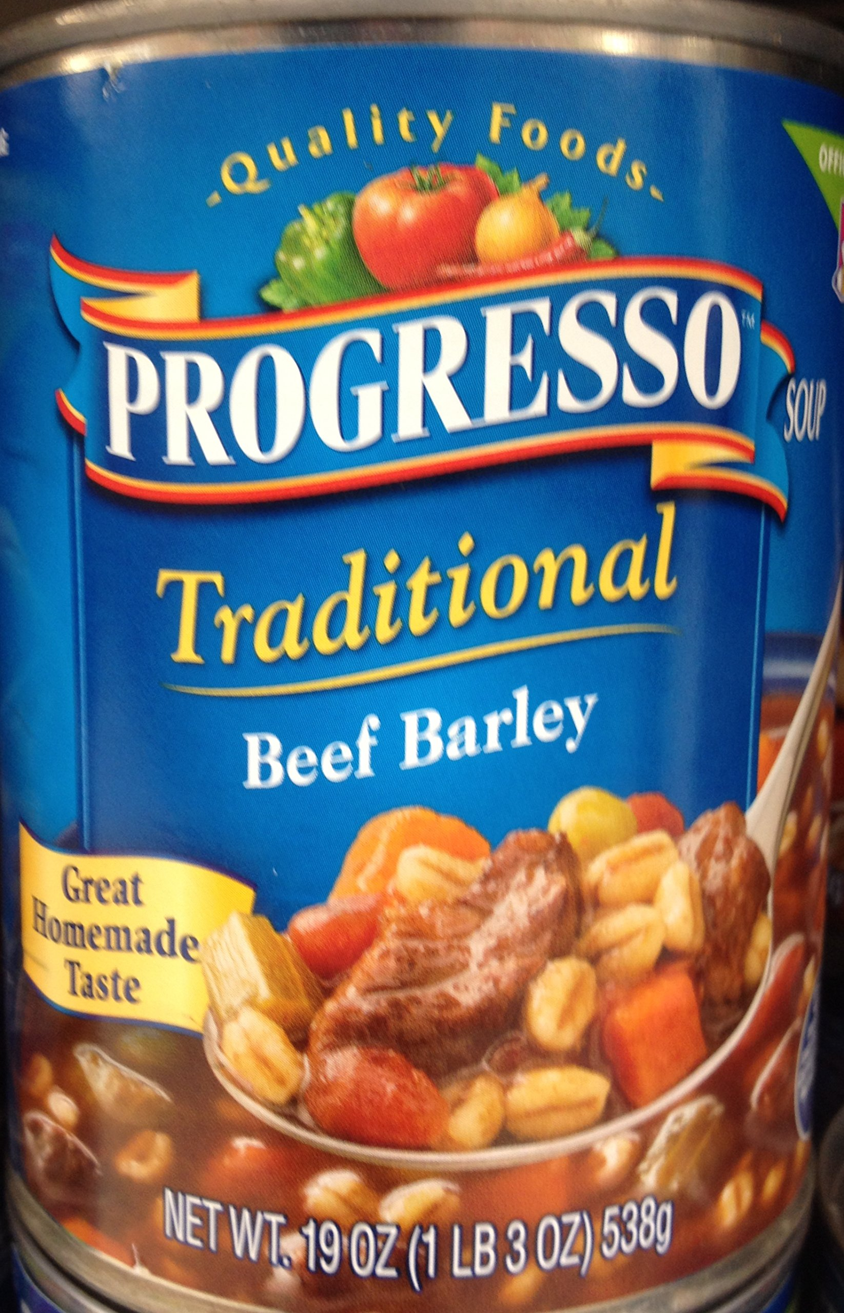 Progresso Traditional Beef Barley Soup 19oz Can (Pack of 2)