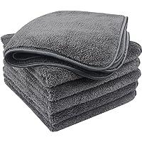 KinHwa Microfiber Car Drying Towels Super AbsorbentCar Wash Towels Lint Free Car Cleaning Towels Dark Grey 6Pack (16Inch x 16Inch, 6pack Dark Grey)