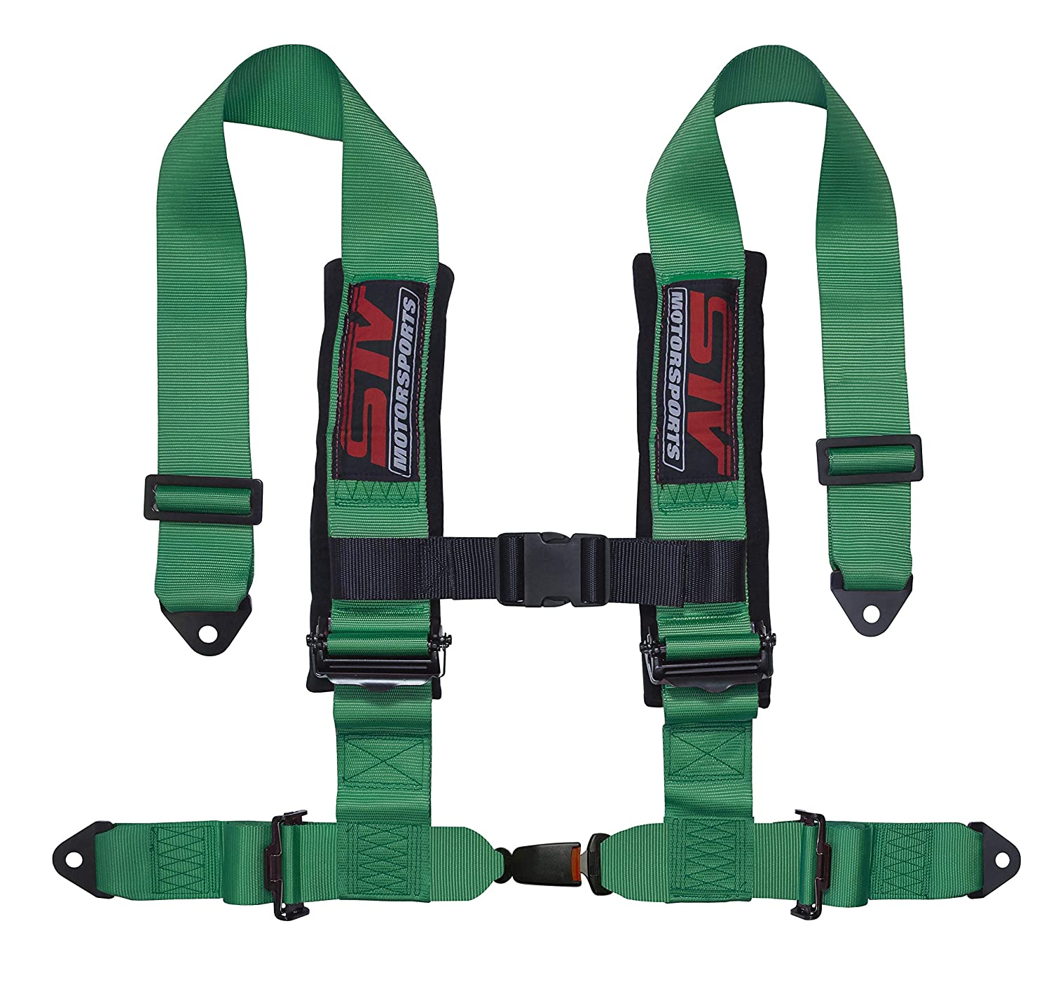 Red for Off-Road Vehicles Trucks for one seat UTV STVMotorsports 4 Point 2 Straps Seat Harness Auto Latch Shoulder Pads RH4.2A
