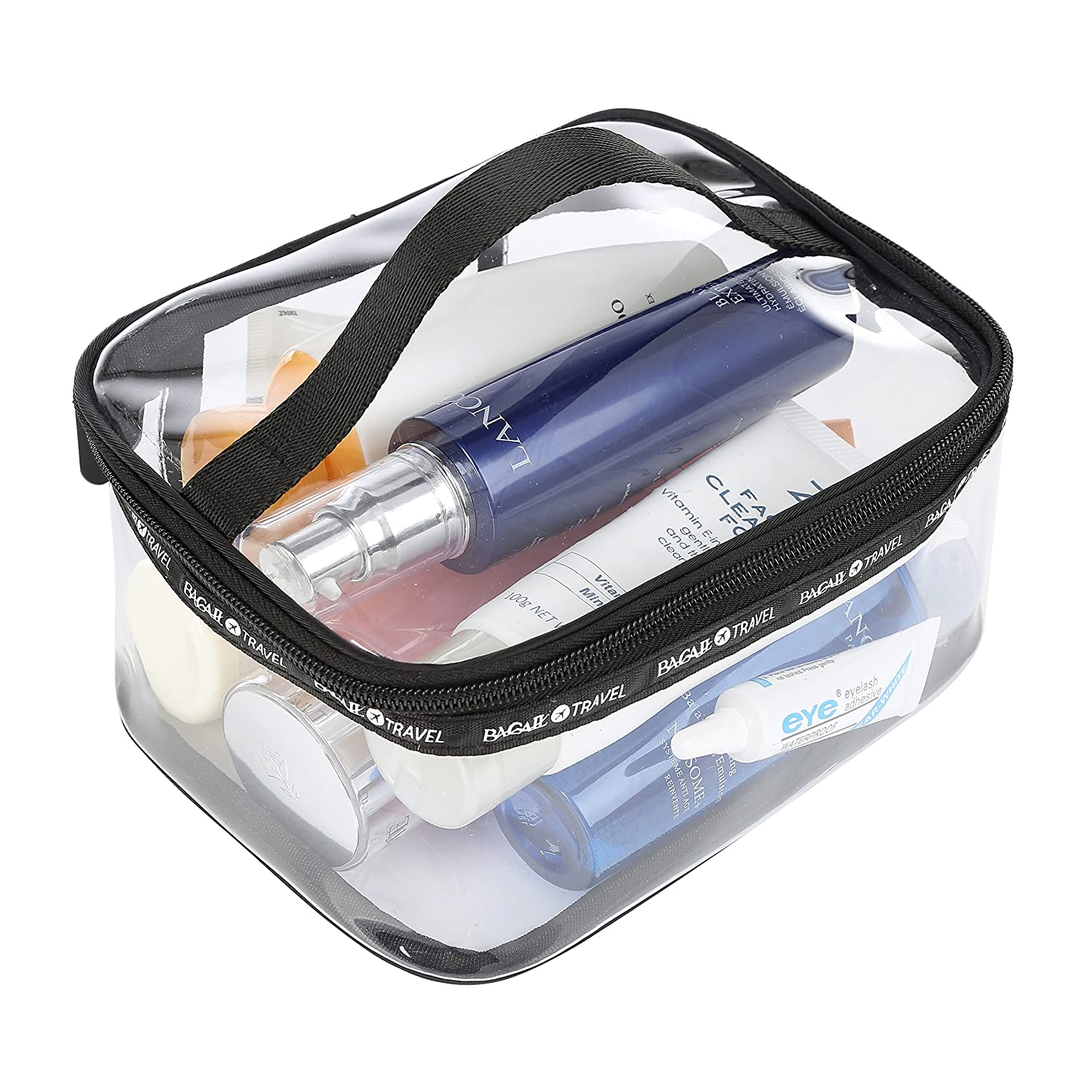 Bagail Large Clear Makeup Bag Zipper Waterproof Transparent Portable Travel Storage Pouch Cosmetic Toiletry Bag With Handle by Bagail