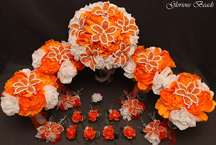 Amazon orange and white beaded lily bridal wedding flower 18 orange and white beaded lily bridal wedding flower 18 piece set with peonies and roses mightylinksfo