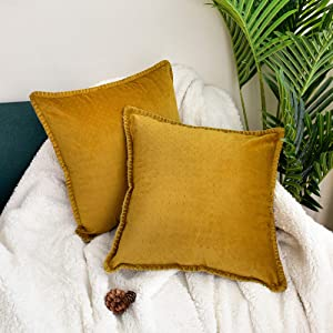 JS HOME Set of 2 Throw Pillow Covers, 280GSM Ultrasonic Quilting, Soft Plush Decor Cushion for Both Living Room and Bedroom (18