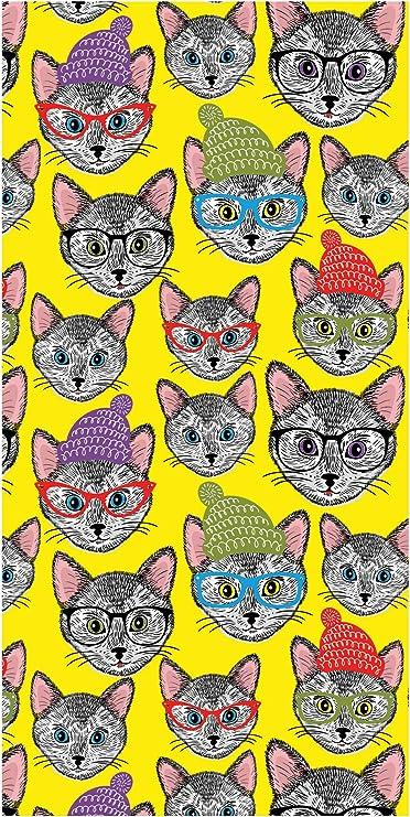 LimeWorks Toalla de Baño, 70x140 cm, Gatos Hipster: Amazon.es: Hogar