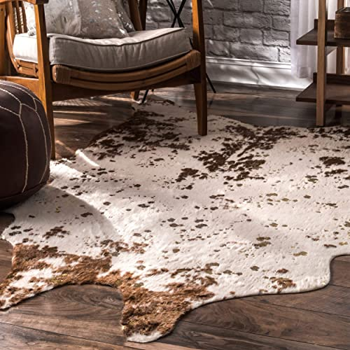 nuLOOM Iraida Faux Cowhide Shaped Rug, 5 9 x 7 7 , Brown