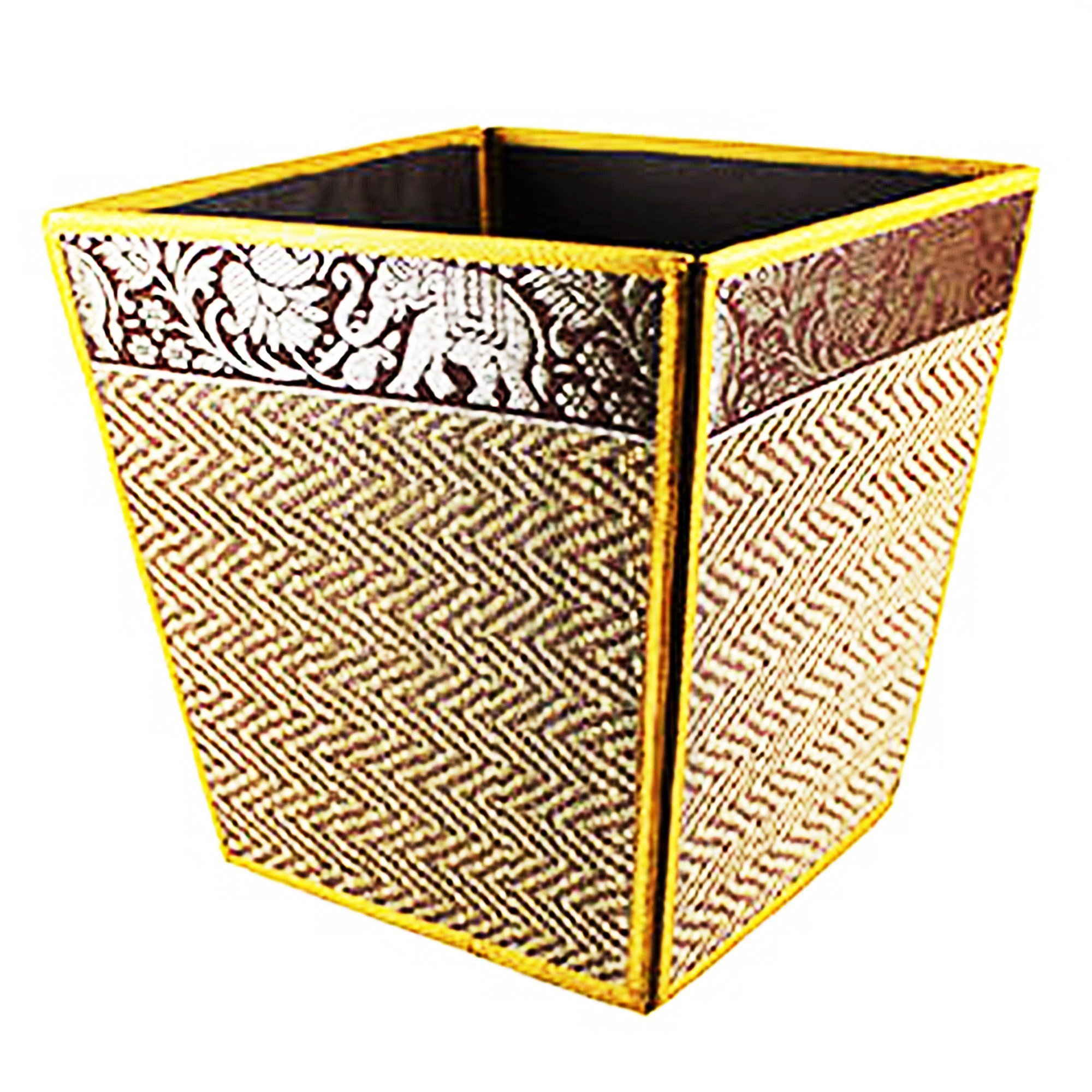 chantubtimplaza Waste Basket Thai Elephant Silk Reed Paper Bin Home Decor Gold Color by chantubtimplaza