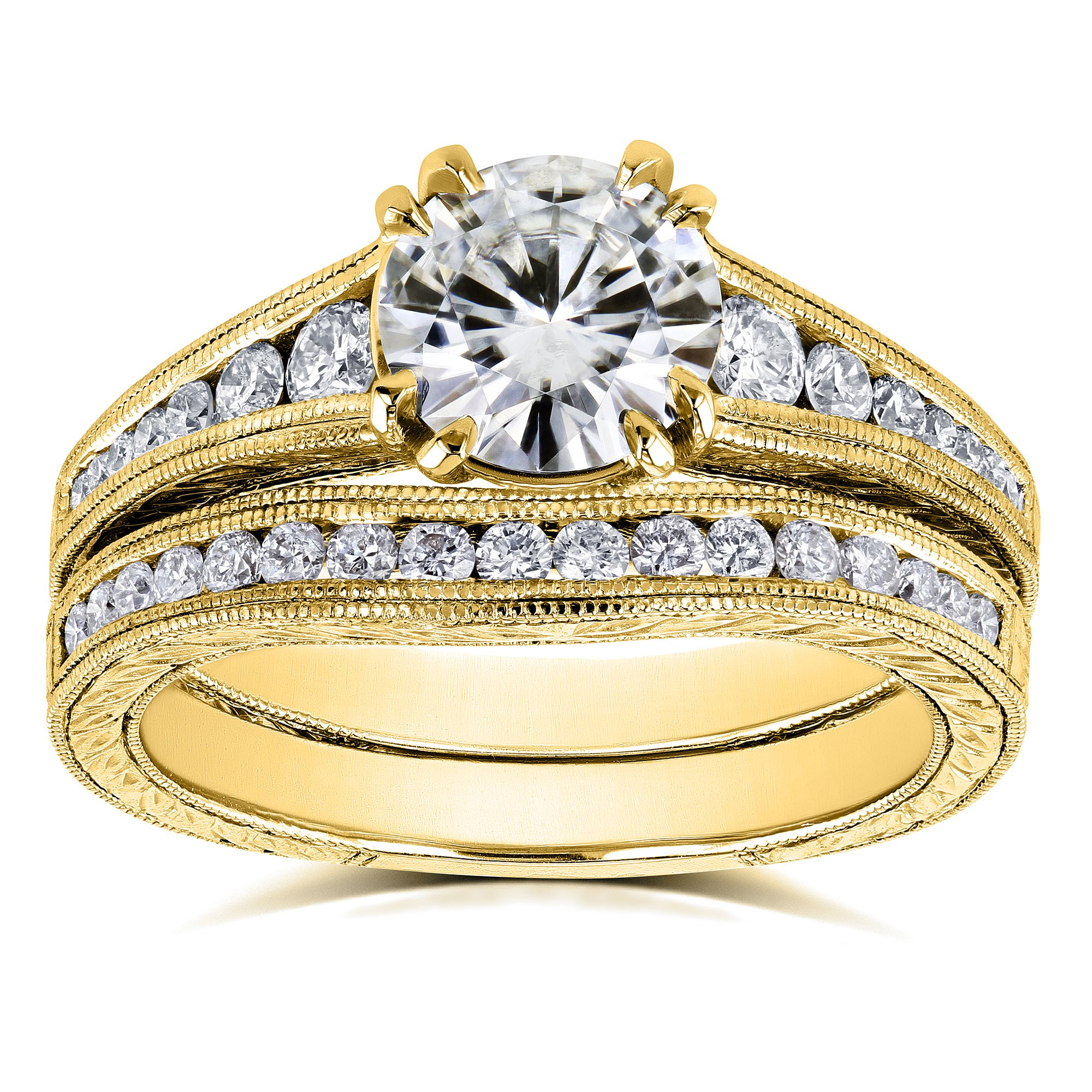 Near Colorless (H-I) Moissanite and Diamond Channel Milgrain Bands Bridal Set 1-1/2 CTW in 14K Yellow Gold - Size 11