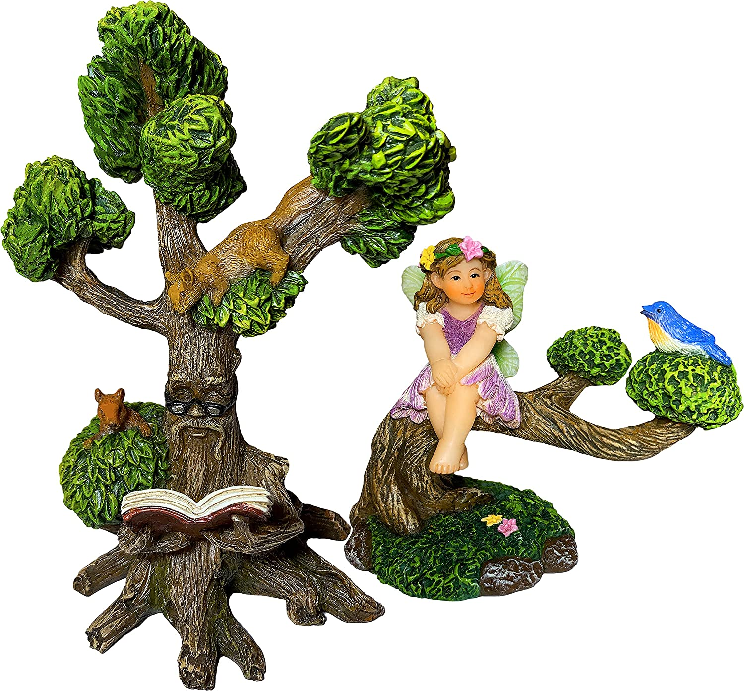 Mood Lab Fairy Garden Miniature Fairy with Reading Tree Statue - Figurines and Accessories Kit of 2 pcs