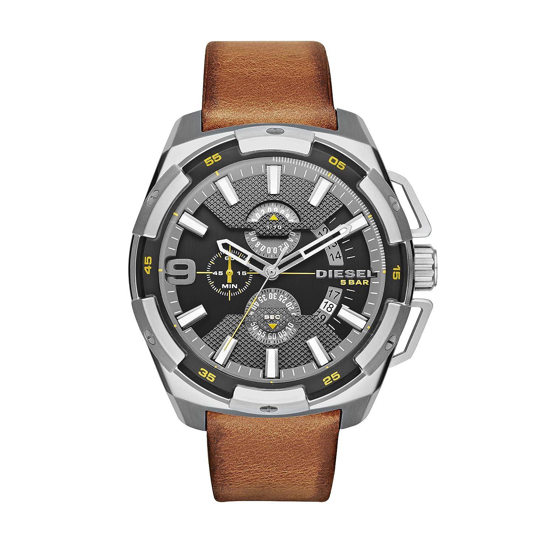 Diesel Heavyweight - Reloj análogico de cuarzo con correa de cuero para hombre, color negro/marrón