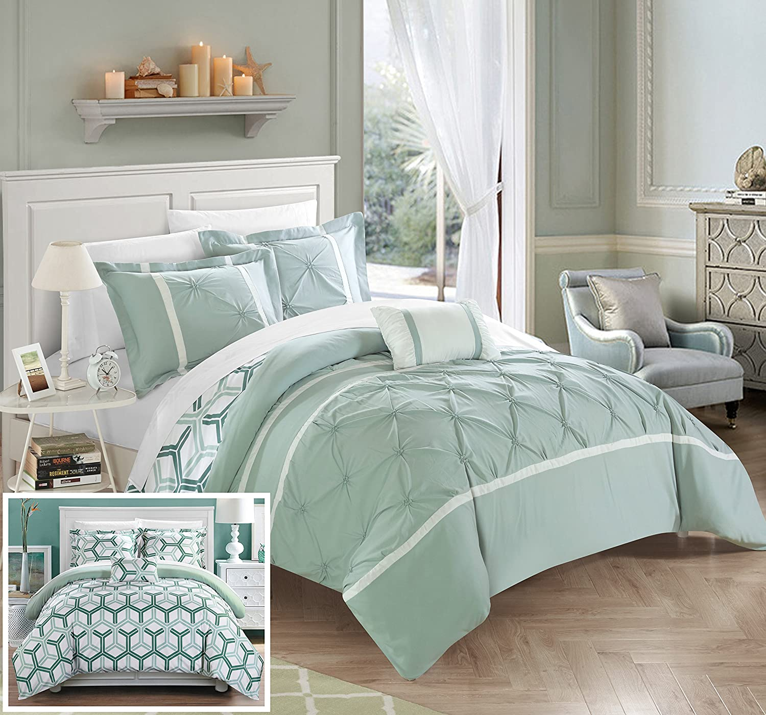 Chic Home CS2749-AN Marcia 4Piece Marcia Pinch Pleated Ruffled & Reversible Geometric Design Printed Full/Queen Comforter Set Blue,Full/Queen