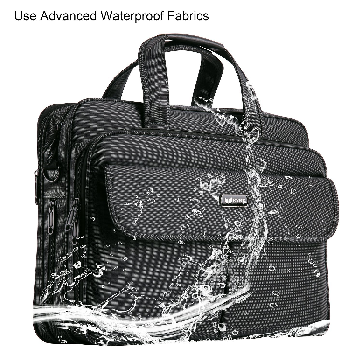 EYBF Laptop Bag 15.6 Inch, Expandable Travel Business Briefcase for Men & Women, Water Resistant Messenger Shoulder Bag with Organizer, Black by EYBF (Image #5)