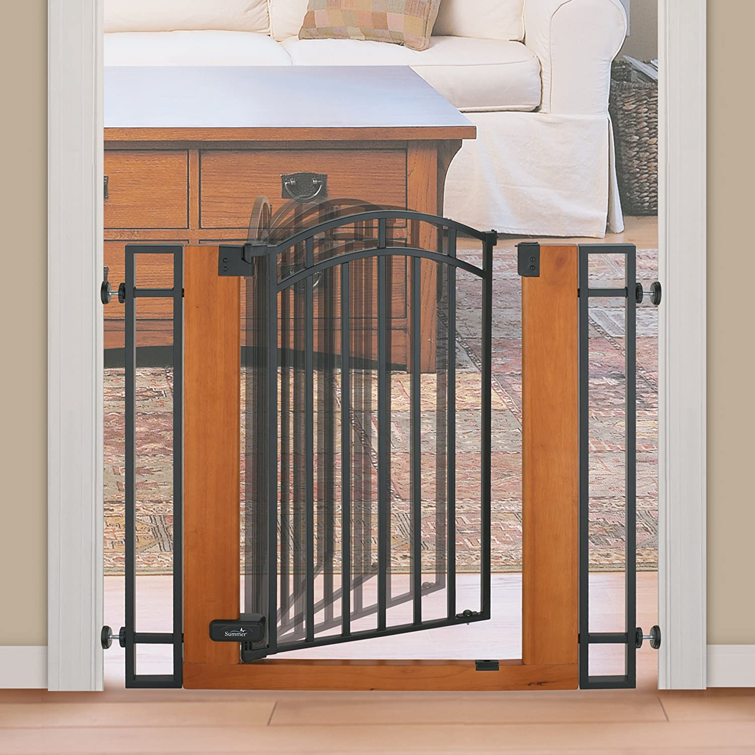 Amazon.com : Summer Infant Wood and Metal Walk-Thru Gate, Brown ...
