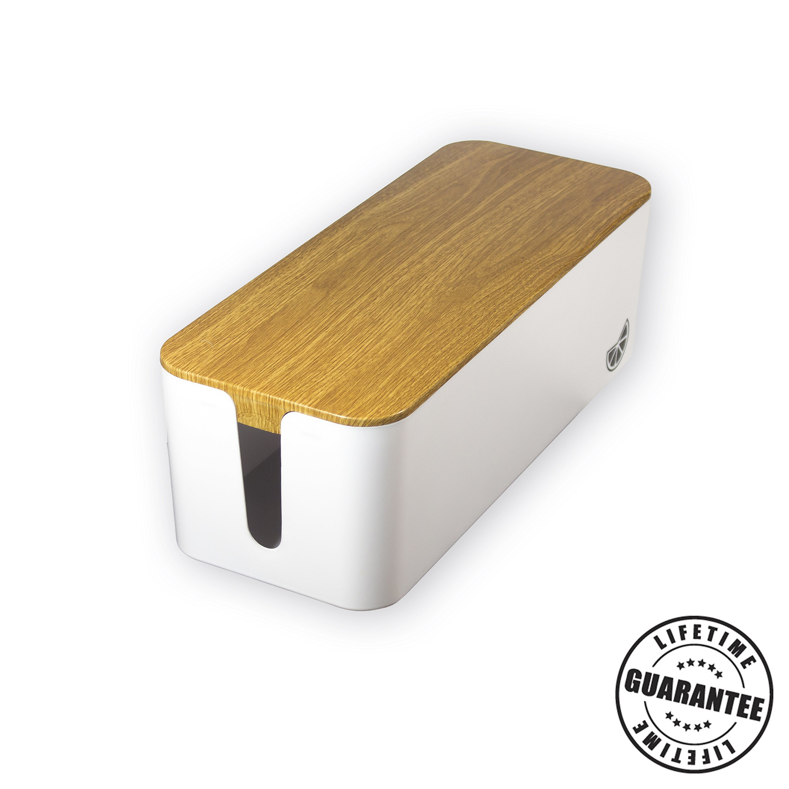 Premium Cable Management Box by Merchant Orange - Baby Proof Wire Covers Lid. Hides Power Strips and Chargers. The Best Large Wood Style White Box. Stylish Home, Office, and Desktop Floor Cover by Merchant Orange