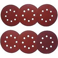 Aewio 5 inch 8 Holes Sanding Discs 60 80 120 180 240 320 Sandpaper for Random Orbital Sanders (60 Pcs 6 Kind #60-#320)