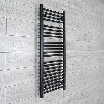 Radiador toallero secatoallas 450 mm ancho x 1200 mm alto negro calentador baño estantería calefacción central