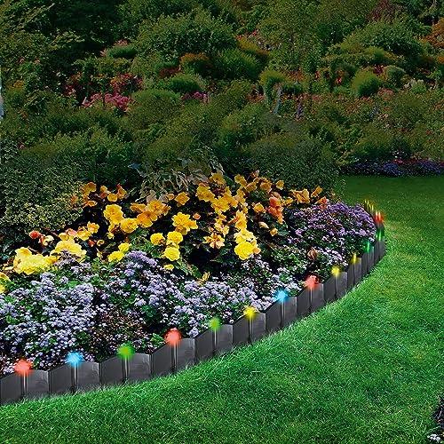 Parkland® 24 Pack LED Light Up Hammer In Garden Lawn Edging Plant Border  Landscape Interlocking