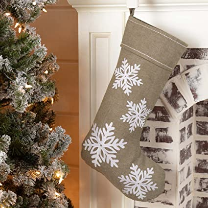Piper Classics Winter Snowflake Christmas Stocking 12 X 20 Modern Country Farmhouse Holiday Decor Beige Gray