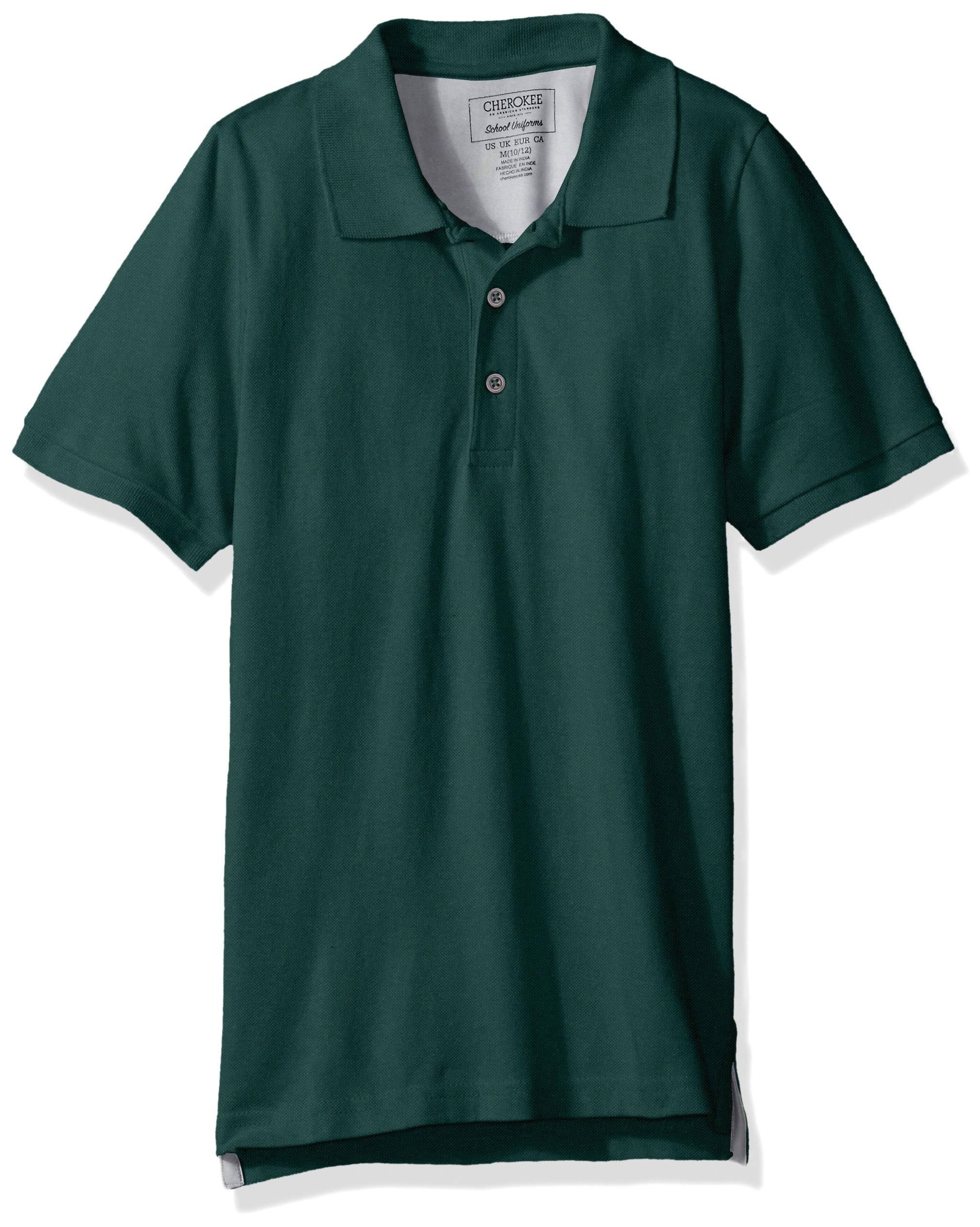 Cherokee Big Boys' Uniform Short Sleeve Pique Polos, Hunter Green, L(14/16)
