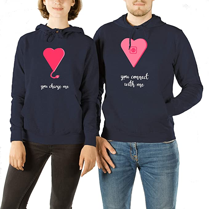 VivaMake Set de 2 Sudaderas para Parejas Hombre y Mujer con Diseño Charge Me My Valentine: Amazon.es: Ropa y accesorios