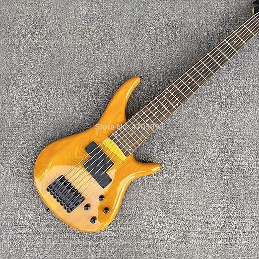 Guitarra de bajo de 7 cuerdas, color amarillo, cuello de arce ...