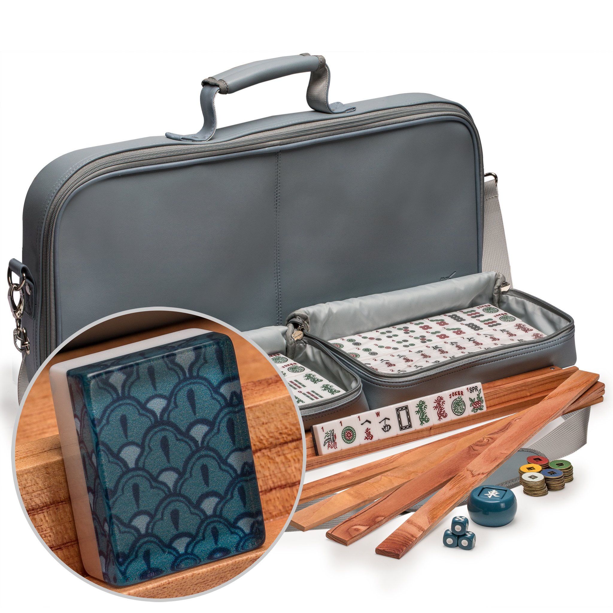 "Yellow Mountain Imports American Mahjong Set with 166 Tiles Adorned with Oceanic Motif, Leatherette Case, Racks with Pushers, Betting Coins, Dice, and Wind Indicator, ""Oceana"" by Yellow Mountain Imports"