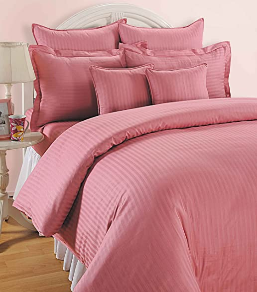 Swayam Pink Colour Fitted Double Bed Sheet With Pillow Covers GS BED Pink